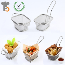 Wholesale Stainless Steel Mini Fry Basket food grade Tableware For Fast Foods F0050