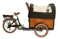 CE bakfiets family front loading electric tricycle with passenger seat with cabin box china