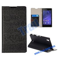 2014 New Arrival Wood Grain Pattern Foldable Stand Flip Leather Case for Sony Xperia T3 M50w D5102 D5103 D5106 Case Cover