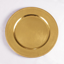 Wholesale wedding plastic beaded gold charger <strong>plates</strong>