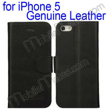 Wallet Style Magnetic Flip Stand Genuine Leather Case for iPhone5