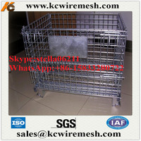 Factory!!!!! Retail wire warehouse metal collapsible mesh welded steel pallet cages