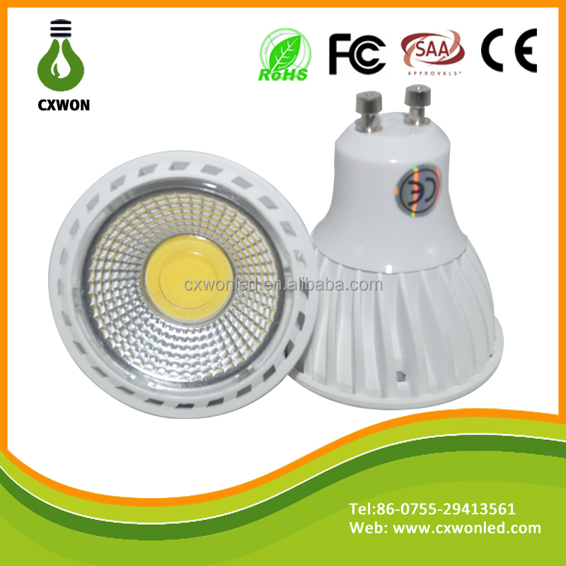 Dimmable 110V GU10 6000K 5W CRI>80 420LM COB Led Spotlights