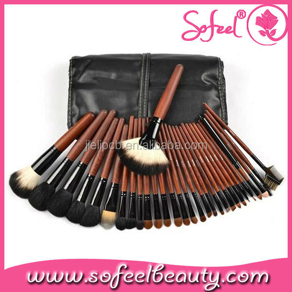 Sofeel hot sale 30piece brown handle makeup brushes set with bag