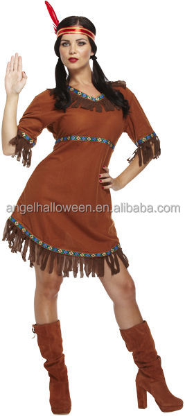 LADIES Womens RED INDIAN Adult Fancy Dress Costume Pocahontas Native American Costume AGC4254