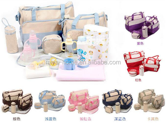 High quality 5pcs Multi-Color Multi-Function Baby Diaper Mummy Bag/Fashion Mummy Bag Wholesale