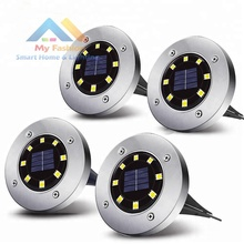 Buried Solar Powered Ground Lights 8 LEDs Auto On/Off In-Groud Light Warm White LED Outdoor Waterproof Garden Lamp