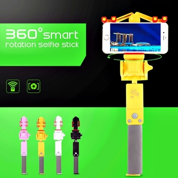 2018 The Newest handhold 360 Degree Powered Rotation Bluetooth Selfie Stick with rearview mirror for smart phone