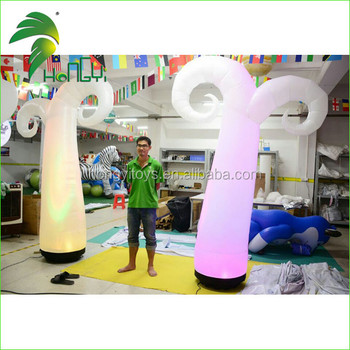 Flexible Charming Holiday Decoration Inflatable LED Lighting Ivory Cone Balloon