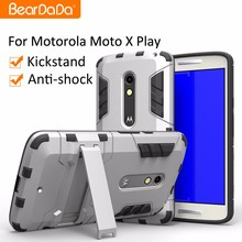 Shockproof kickstand phone case for motorola moto x play