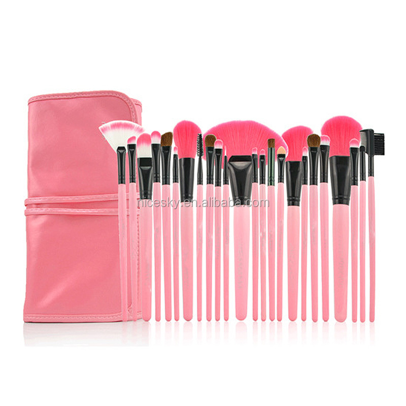 24 pcs professional makeup brushes set cosmetic make up brush kit pink makeup tool+ pink bag