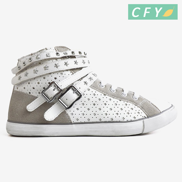 2017 hot selling men's PU leather high top casual shoes fashionable hip hop sports sneaker dance footwear