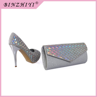 Newest fashion ladies high heel shoes and matching bags