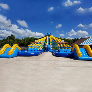 Commercial Grade Giant Inflatable Water Park for kids amusement water park,Inflatable Water Slide with Big Swimming Pool