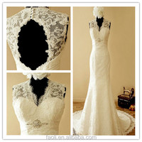 2015 Graceful Sleeveless V Neck Keyhole Back Lace Mermaid Wedding Dress Imported From China