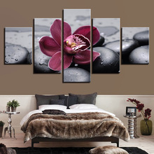 HD Screen Printing Painting Wall Art Portrait 5 Modular Panel Purple Orchid Black Pebbles Poster Modern Home Decor Room Living R