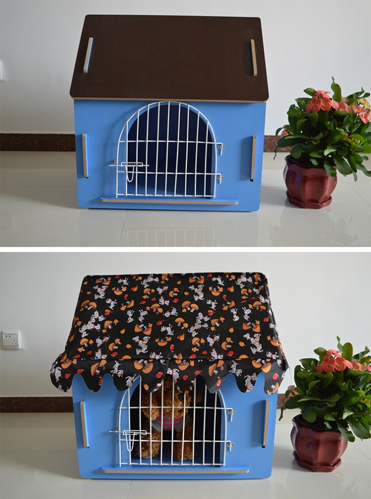 Unique Real Wood Dog Kennel with Door Pink