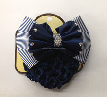 Large Hair Bun Net Velvet Satin Striped Bow Barrette Clip Rhinestones Showing Dressage Competition