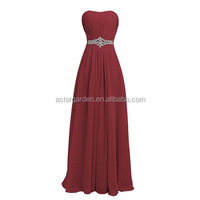Wholesale bridesmaid dress 2018 long strapless party banquet evening dress