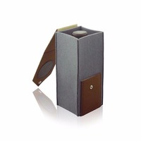Luxury felt and faux leather single bottle wine carrier