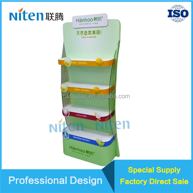 Strong waterproof foam board display stand cardboard pallet collapsible display shelf