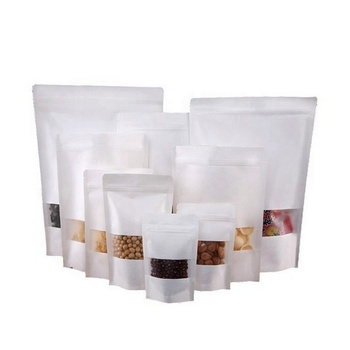 Ziplock White Kraft Paper Food Storage Bag with Window / Kraft Zip Lock Stand Up Bags Pouches with Notch