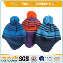 winter knitted kids cotton hats with custom logo
