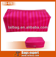 Satin stripe top fasion new style lovely cosmetic case 2013