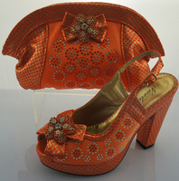 CSB517- ORANGE 2014 new design italian lady crystal matching shoe and bag wholesale for wedding/party