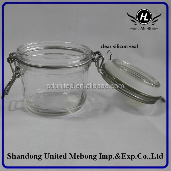 200ml glass jar with glass metal clip lid for honey or face mask