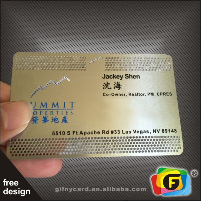 High Quality Cheap Metal Business Cards Engraving and Printing