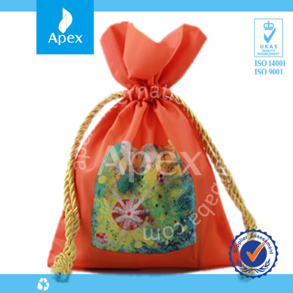 Customized polyester fabric polyester gift pouch bag