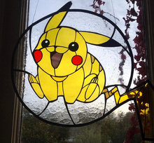 Pikachu inspired stained glass window decorations