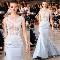 Light Blue Prom Dresses Long Evening Dress Fish Cut Wedding Dress