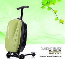 abs hard shell plastic green color scooter luggage