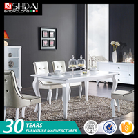 Best selling popular wooden white lacquer modern dining room furniture