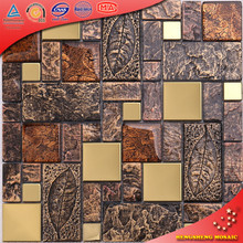 HYJ18 Gold Resin and Stainless Steel Square Tiles Mosaic