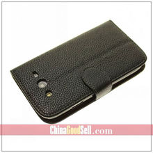 Full Grain Wallet Stand Leather Case Cover for Samsung Galaxy Grand DUOS i9082