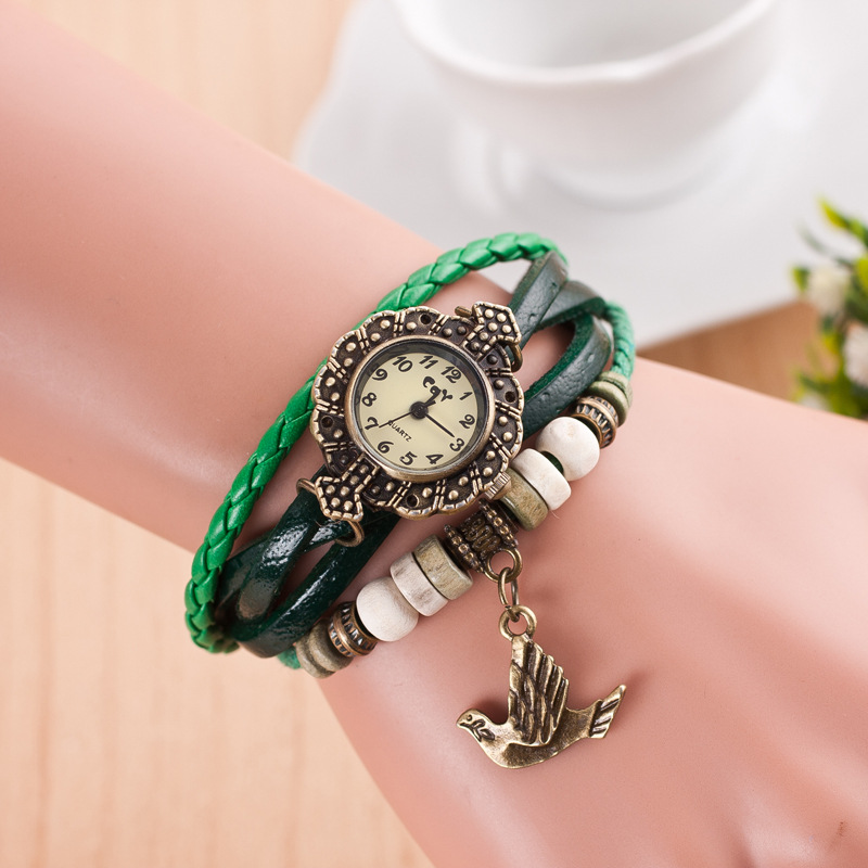 Alibaba Express Hot Wholesale Ladies Vintage Watch With Bird Pandent