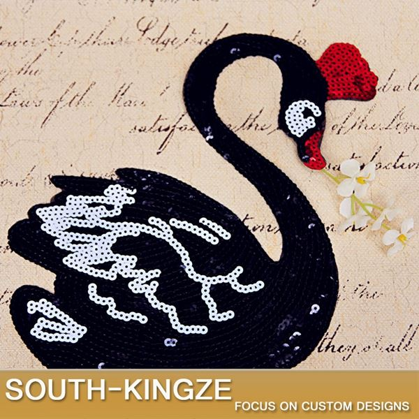 Swan sequins embroidered garment accessories DIY patch applique sew on clothing patch 20cm Width 3pcs/lot