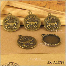 Aries Ram Zodiac Constellation Charm Buttton Badge Antique Bronze Color Great for Necklace Bracelet Charm Accessories