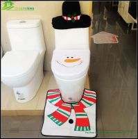 wholesale christmas decorations Christmas Santa Toilet Seat Cover and Rug Set Gift Child Toilet Seat Covers BGSY1006