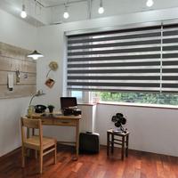 Nice colored window blinds, orange shutters, luxury curtain panels