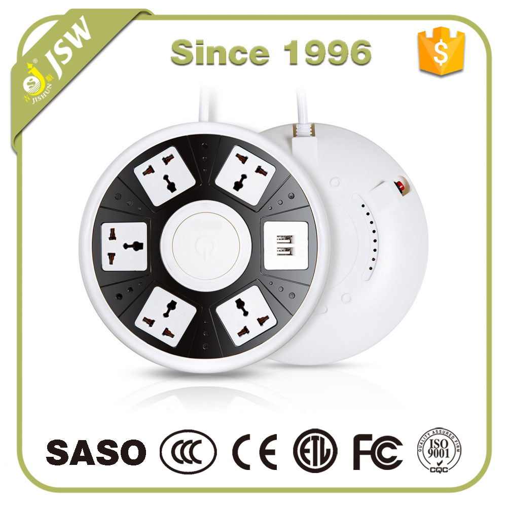 UFO Shape Smart USB Socket 6 Outlet Power Strip with USB Ports 10A Overload Protector USB Power Strip for Home/Office MAX 2500W