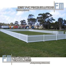 white vinyl straight temporary picket fence