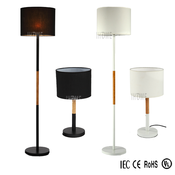 Wholesale fabric shade wooden base classical wood lamp/modern table light/floor lamp sets