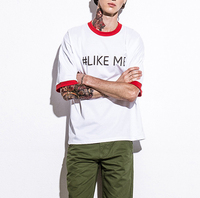 Like me emoji Korea style o-nekc cotton short young men t shirts