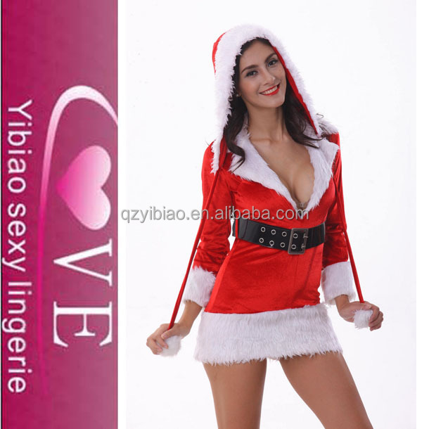 open chest women sexy Christmas costume santa claus fancy dress