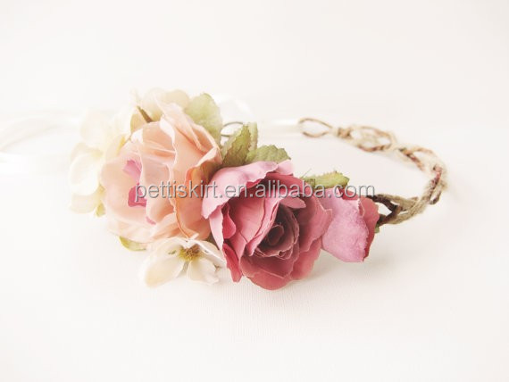 Wholesale flower girl headband rose pattern newborn baby hair accessories