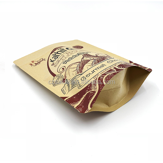 Custom printed greaseproof aluminum foil potato chip paper bag